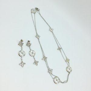 кулон и серьги луи виттон серебро
